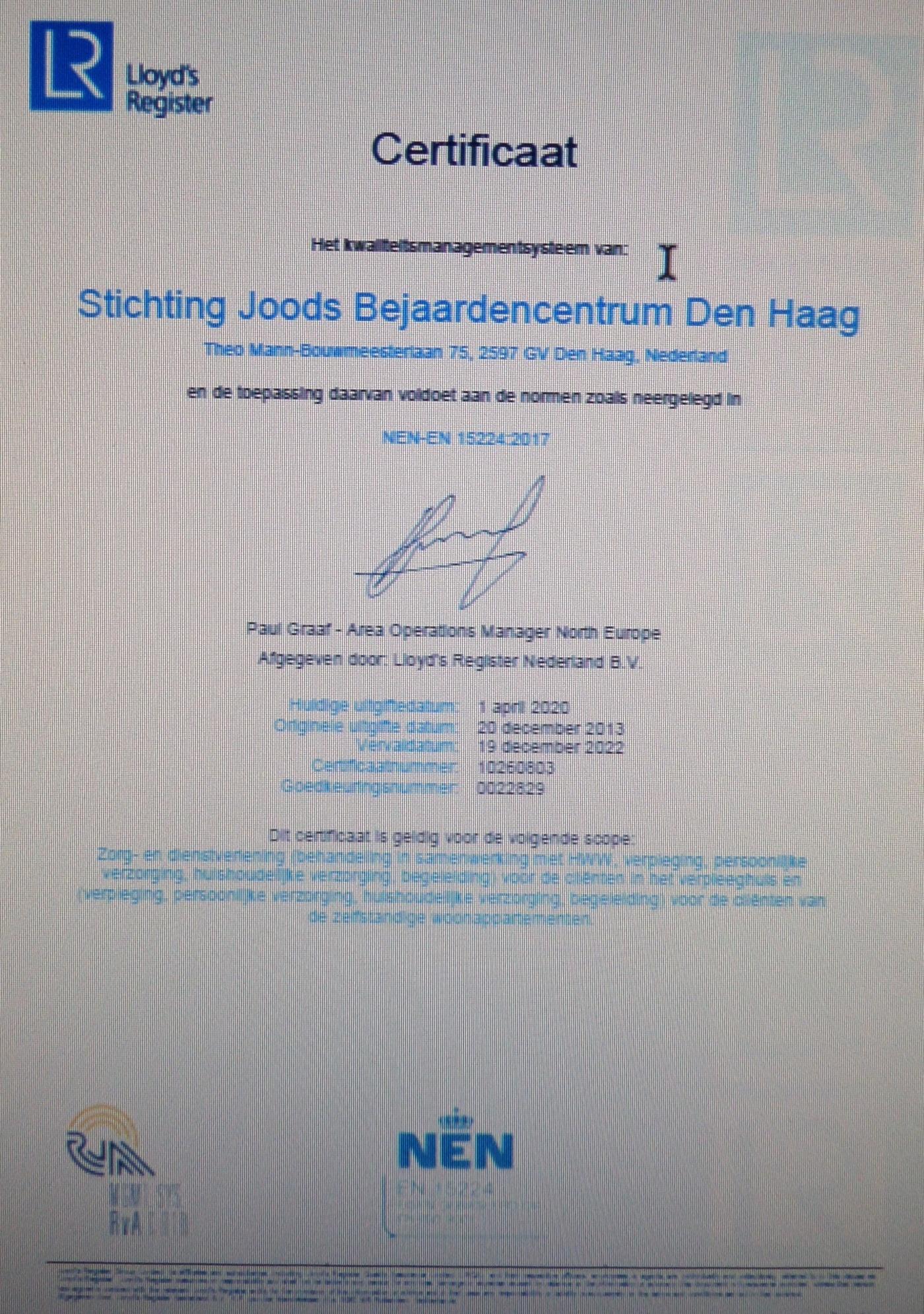 Certificaat Lloyd's RegisterNederland B.V.